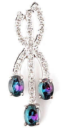 Gorgeous Triple Genuine Alexandrite Pendant With a Twisted Diamond Design in 14k White Gold  - 1.01 carats, 5.22 x 4.08 mm
