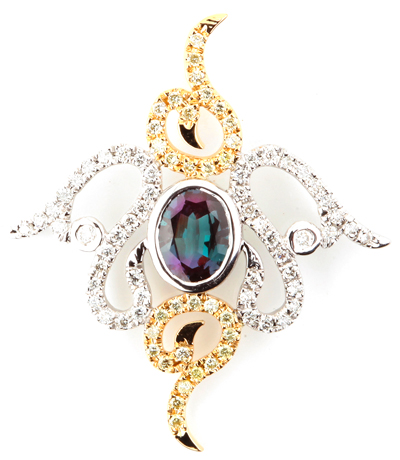 Intricate Two-Tone 14k White and Yellow Gold Brazilian Alexandrite Pendant With Diamond Accents - 0.55 carats, 6.61 x 5.20 mm