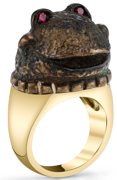 Original Peggy Croft Handmade Froggy Ring With 2 Round Spinel Eyes - 18kt Yellow Gold