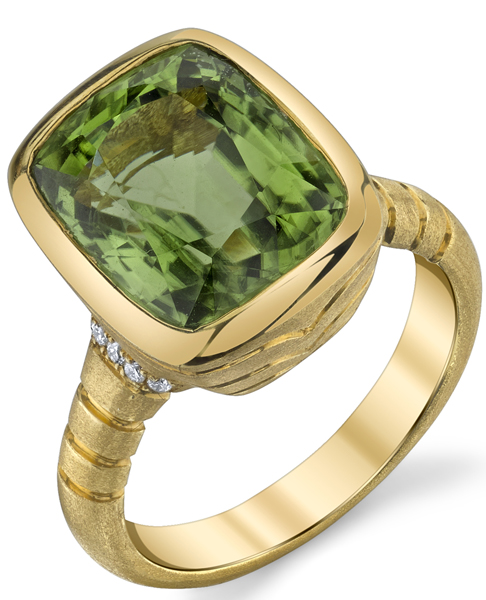 Sophisticated Bezel Set 18kt Yellow Gold Cushion 7.88ct Peridot Gemstone Ring - Diamond Accents