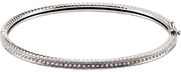 Stackable 14 Karat White Gold 1/3 Carat Total Weight Diamond Bangle Bracelet