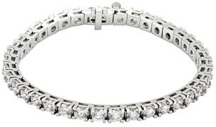Tennis Style 18 Karat White Gold 10 Carat Total Weight Diamond Line 7.25
