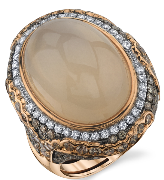 Vintage Style 18kt Rose Gold 15.05ct Oval Moonstone Handmade Ring - Brown & White Diamond Accents