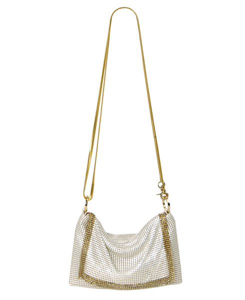 Whiting and Davis THE EDGE Crossbody Mesh Bag (Pearl White)