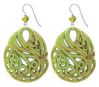 Tarina Tarantino Olive Green Carved Lucite Disc Earrings