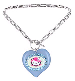 Tarina Tarantino Aqua Lucite Puff Heart Pink Head Toggle Necklace