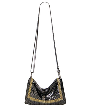 Whiting and Davis THE EDGE Crossbody Mesh Bag  (Gunmetal)