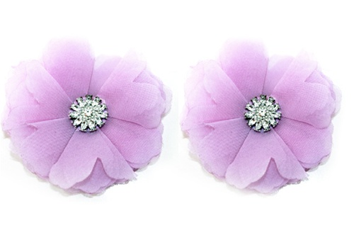Absolutely Audrey Pink Lilac Tulle Flower Shoe Clips