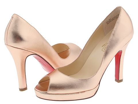 oh...DEER! Ella Metallic Pink Peep Toe Pump