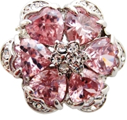Pink Crystal Flower Ring