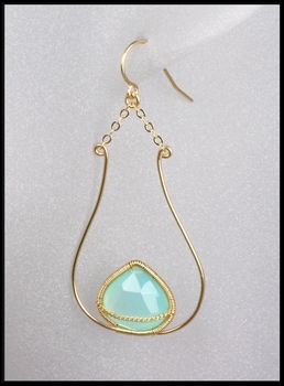 Blue Chalcedony Vessel  Shaped Earrings