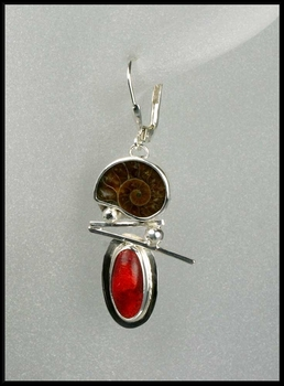 Ammonite and Coral Lever Back Earrings