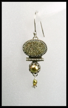 Pyrite Drusy and Button Pearl Earrings
