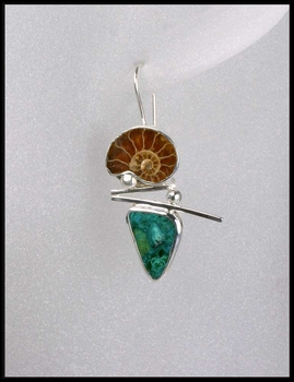 Ammonite and Chrysocolla Hanging Earrings