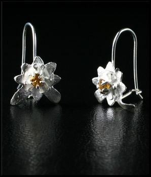 Petite Sterling Silver Flower Earrings with Citrine
