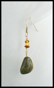 River Stone and Amber Drop Earrings