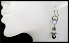 White Drusy and Silver Circle Dangle Earrings