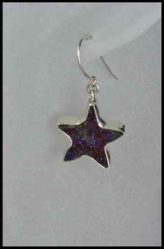 Moon and Star Blue Drusy Earrings