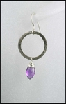Amethyst Oxidized Sterling Silver Circle Earrings
