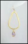 Ametrine Tear Drop Hoop Earrings in Gold Vermeil