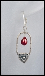 Heart Frame and Red Pearl Earrings