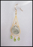 Rutilated Quartz Teardrop Chain Earrings