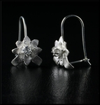 Petite Sterling Silver Flower Earrings with Clear Crystal