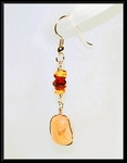Sea Stone and Amber Hanging Earrings