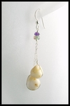 River Stone Amethyst and Tourmaline Dangle Earrings