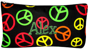 Personalized Cosmetic Case Flat Makeup Bag Black with Multi Colored Peace Signs Personalize Me