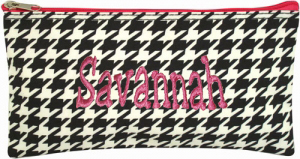 Personalized Cosmetic Case Flat Makeup Bag Houndstooth Pink Trim Personalize Me