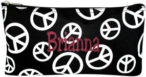 Personalized Cosmetic Case Flat Makeup Bag Black with White Peace Signs Personalize Me