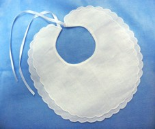 Double Scalloped Linen Christening Bib