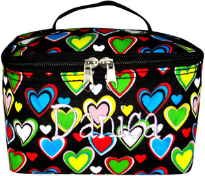 Cosmetic Make-up Bag Tote Black with Hearts Case Small Lunch  Personalize Me!