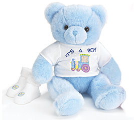 It's A Boy Blue Plush Teddy