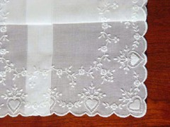 White Hearts & Flowers Four Side Embroidery Wedding Handkerchief