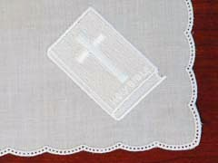 German Cotton Spoked Handkerchief Bible & Cross Embroidery