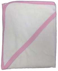 White with Pink Binding Terry Hooded Baby Towel Personalize Me