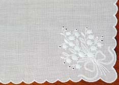 Swiss White Floral Embroidered Handkerchief Lily of the Valley