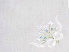 Beautiful Daisy and Rose Embroidered Bouquet Handkerchief