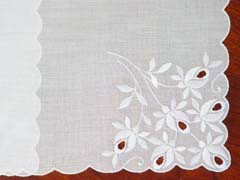 Swiss White Rose Embroidery and Cutwork Handkerchief