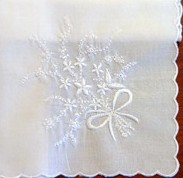 White Floral Bouquet Embroidery Handkerchief One Corner Personalizable