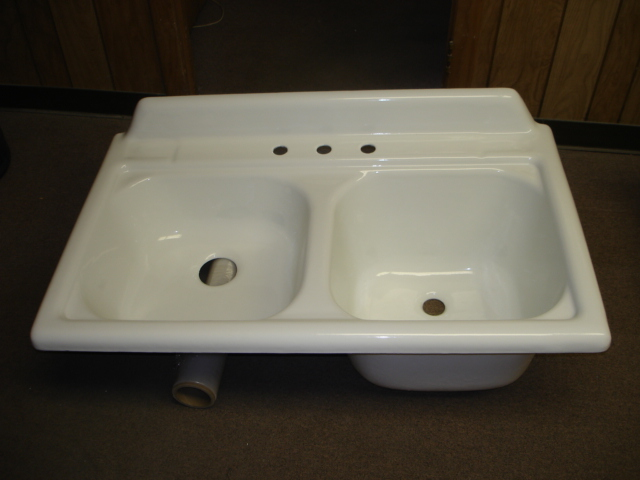 Vintage Powder Coat Refinished Double Basin Porcelain Over Cast Iron ...