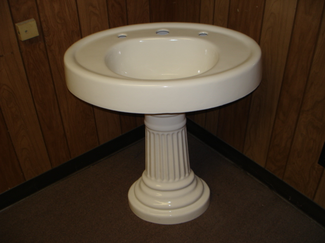 1914 Vintage Powder Coat Refinished American Standard Porcelain Over Cast  Iron Pedestal Sink