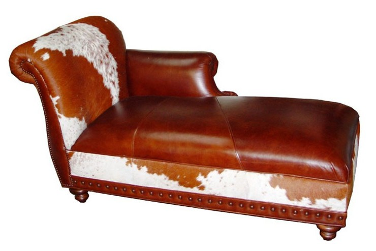Cowhide chaise lounges hair on hide chaise lounges for Chaise western