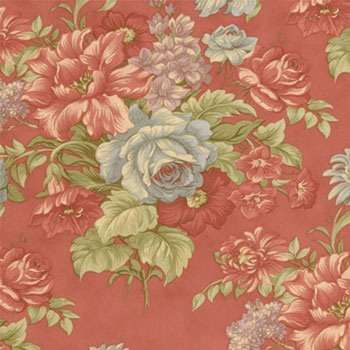Beach House Large Floral in Red Faded Blooms
