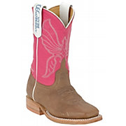 Anderson Bean® Kid's Antique Bone Brown & Pink Square Toe Boots