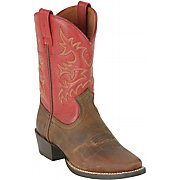 A.R.T Western Children's Distressed Brown & Red Legend Square Toe Boots