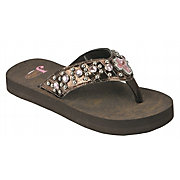 Justin Chloe Kids Brown Croc Print w/ Cross Concho Jeweled Flip-Flop