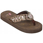Justin Emma Kids Bronze Metallic w/ Heart Concho Jeweled Flip-Flop b